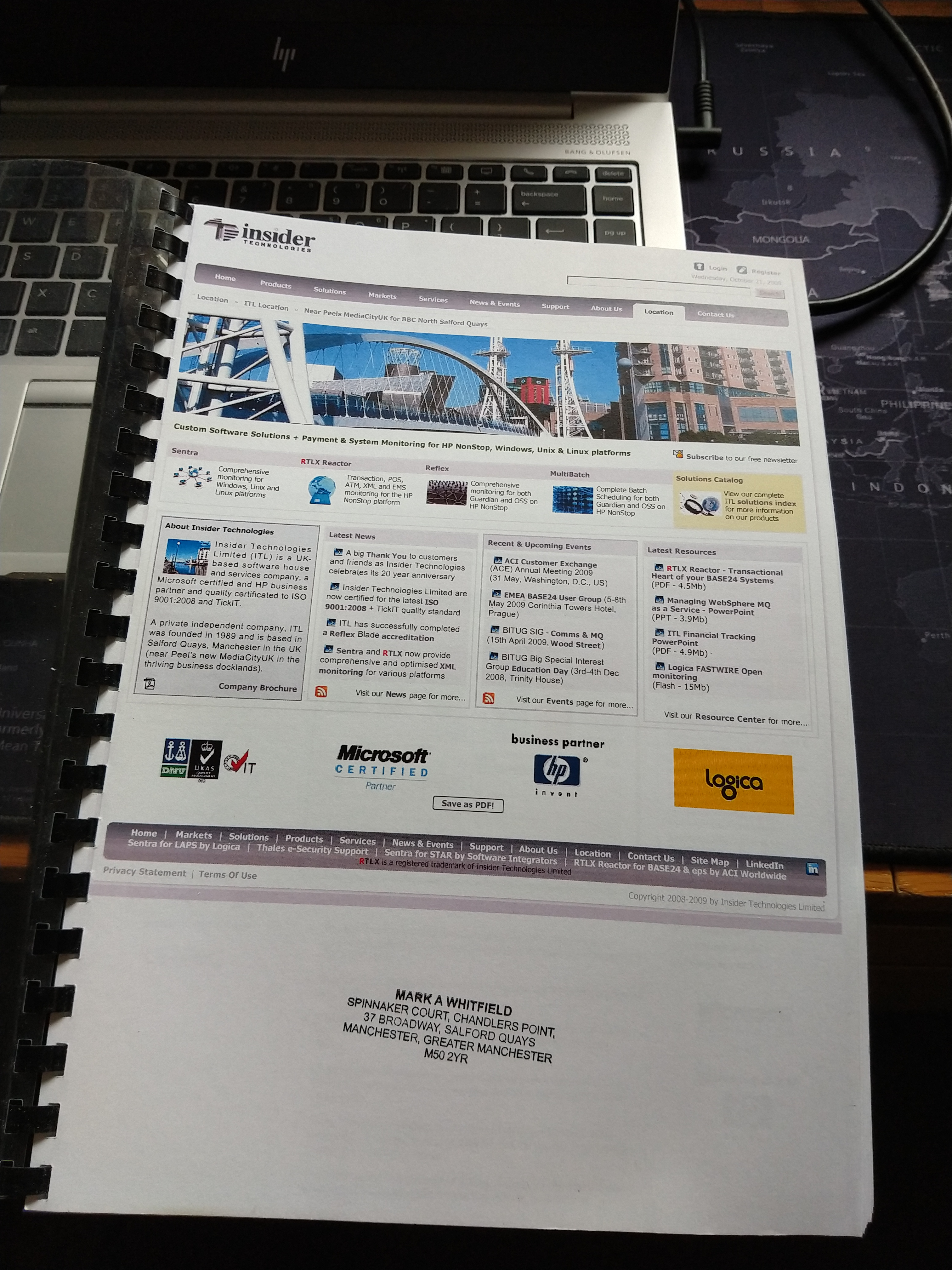 Mark Whitfield Insider Technologies 2009 to 2013 Salford Quays M50 2YR Spinnaker Court Chandlers Point (1)